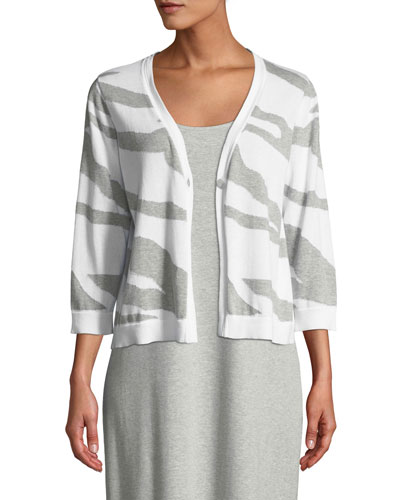 Single-Button 3/4-Sleeve Zebra-Patterned Cardigan  Petite