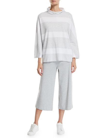 Joan Vass Cropped Stretch Interlock Wide-Leg Pants