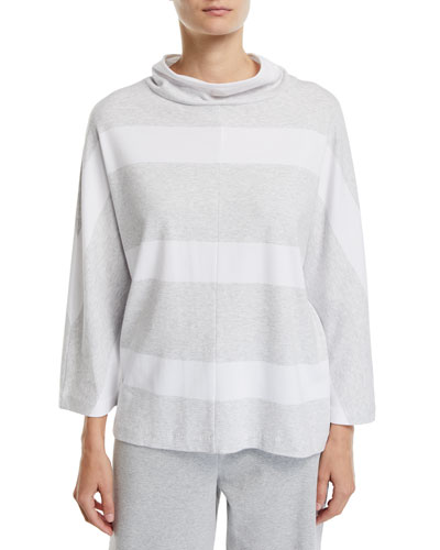 3/4-Sleeve Mock-Neck Striped Tunic Pullover  Petite