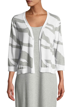 Joan Vass Plus Size Single-Button 3/4-Sleeve Zebra-Patterned Cardigan