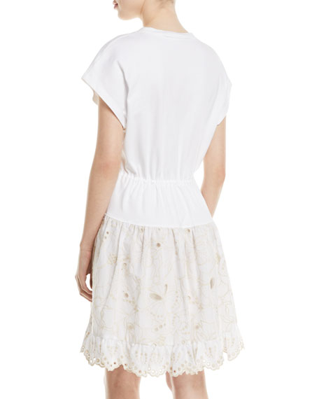 Short Sleeve Cotton Dress With Lace Combo
