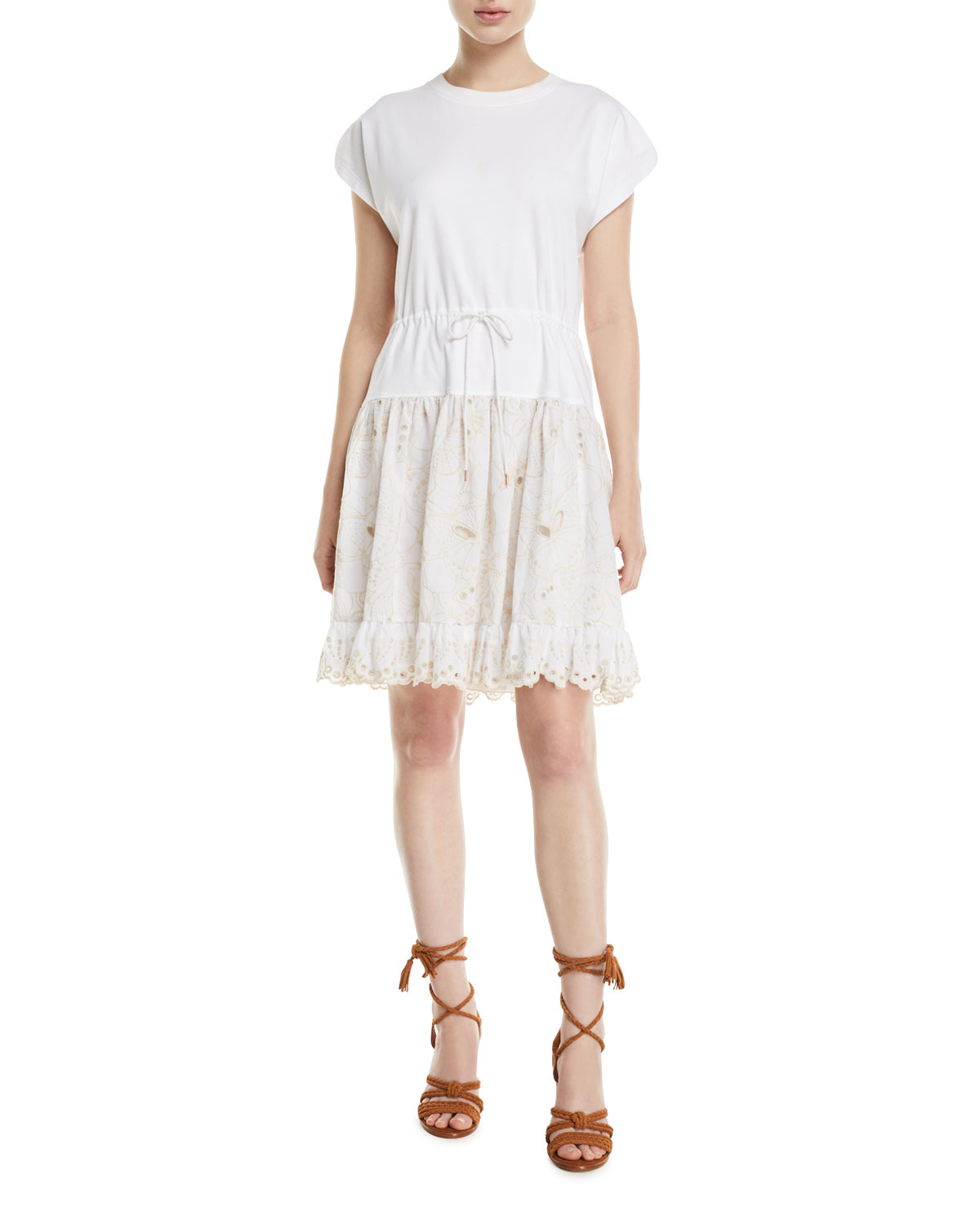 e21dc470fb8bd See by Chloe Short-Sleeve Cotton Dress with Lace Combo   Neiman Marcus