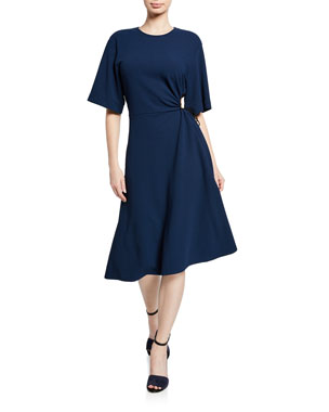 eca509dd9316f7 See by Chloe Crewneck Elbow-Sleeve Side-Cutout A-Line Dress