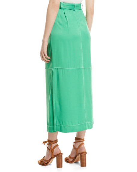 8ccd159563 See by Chloe Long Button-Front Skirt with Pockets | Neiman Marcus