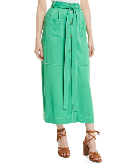 See by Chloe Long Button-Front Skirt with Pockets