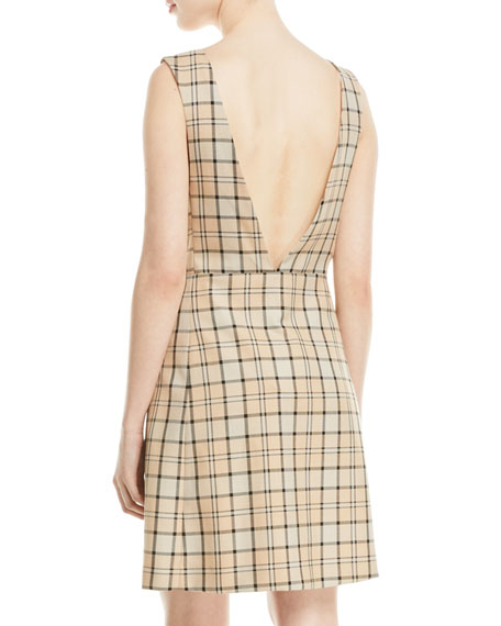 See by Chloe Plunge-Back Tattersall Dress with Pockets