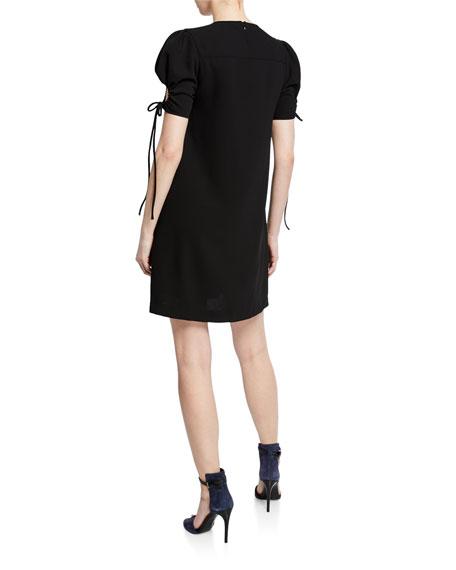 See by Chloe Crewneck Puff-Sleeve Mini Dress