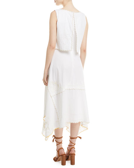 See by Chloe Long Tiered Cotton Handkerchief Dress