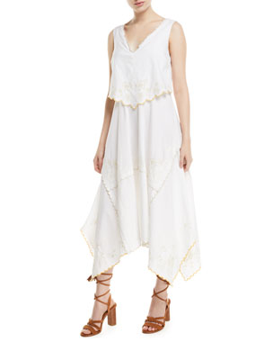 c6842182cc6 See by Chloe Long Tiered Cotton Handkerchief Dress