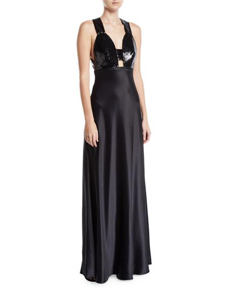 Jill Jill Stuart Sequined & Satin Combo Gown