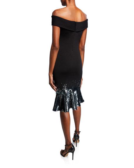 Sachin & Babi Falisia Sequin-Hem Off-the-Shoulder Knit Dress