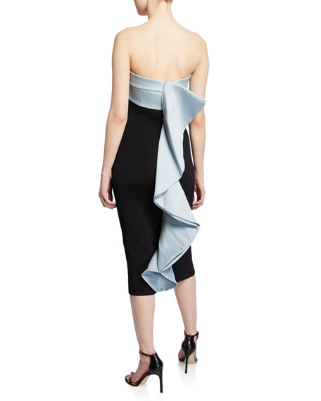 Sachin & Babi Lais Strapless Knit Dress with Draped Ruffle Back