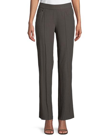 Eileen Fisher Washable Stretch-Crepe Slim Boot-Cut Seam Pants