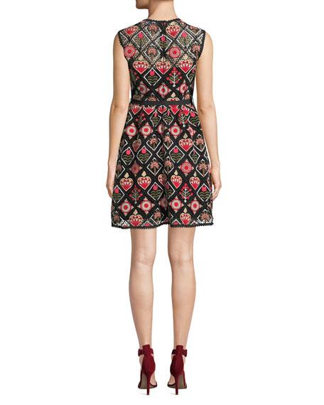 REDValentino Crewneck Sleeveless Hearts & Flowers Macramé Dress