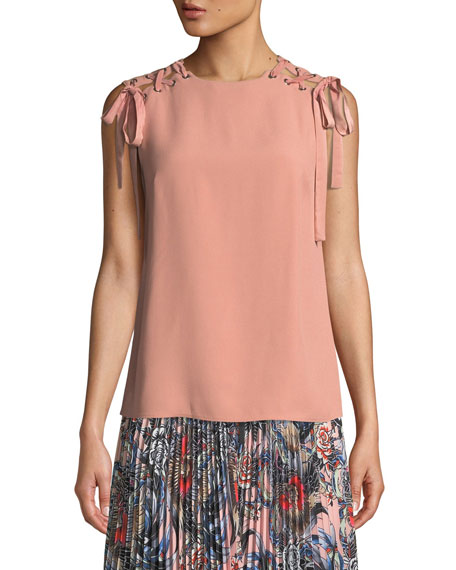 REDValentino Whipstitched Sleeveless Crepe Satin Top w/ Lace-Up Shoulders