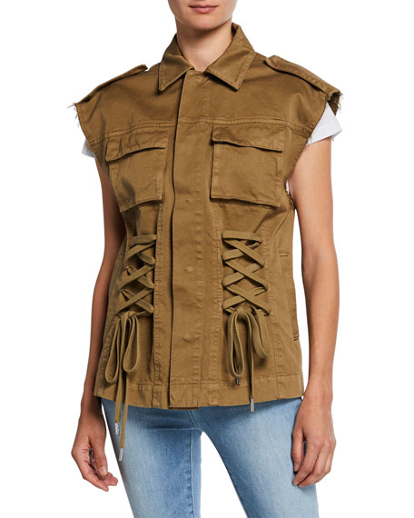 REDValentino Gabardine Whipstitch Button-Front Lace-Up Vest