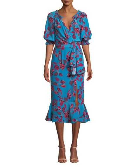 SALONI Olivia Velvet Burnout Midi Flounce Dress in Blue Pattern