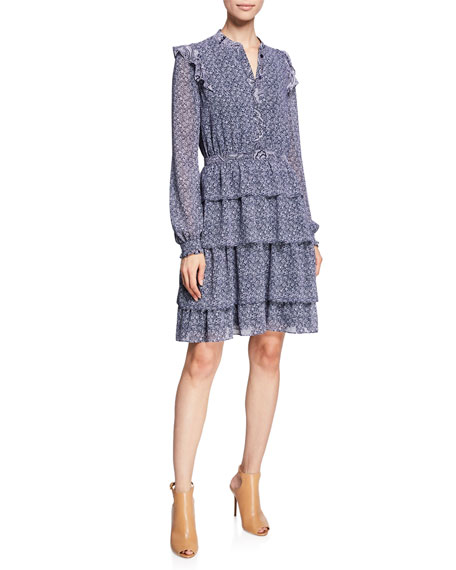 MICHAEL Michael Kors Micro Floral Mix-Print Long-Sleeve Tiered Dress w/ Ruffle Trim