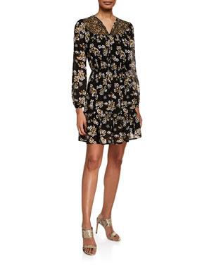 c1d45025f0c MICHAEL Michael Kors Combo Bib Fleur Long-Sleeve Mini Dress