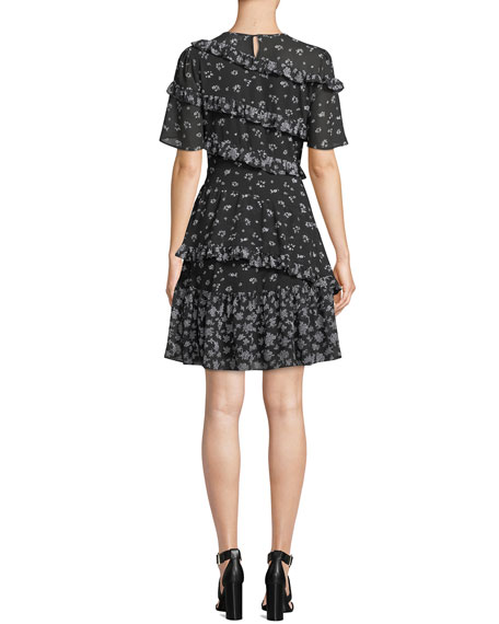 MICHAEL Michael Kors Floral-Print Jewel-Neck Short-Sleeve Ruffle Dress