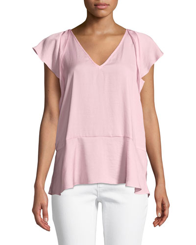 V-Neck Flutter-Sleeve Top