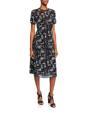 dafe44e80d MICHAEL Michael Kors Floral Sequins Crewneck Short-Sleeve Dress