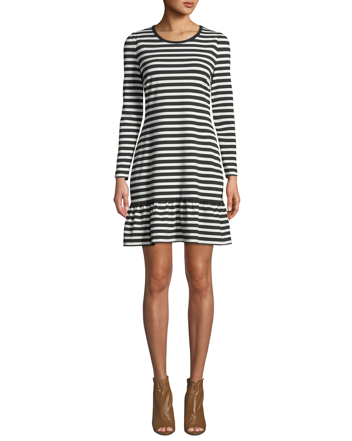 37227e39b0bc MICHAEL Michael Kors Striped Long-Sleeve A-Line Dress with Ruffle Hem