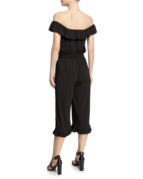 MICHAEL Michael Kors Off-the-Shoulder Ruffle-Trim Cropped Jumpsuit