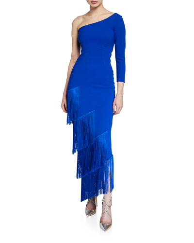 Pippi One-Shoulder Asymmetric Fringe-Trim Dress