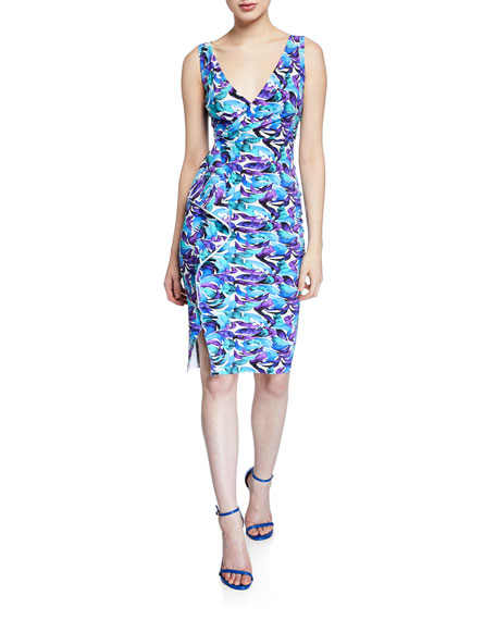 Chiara Boni La Petite Robe Gota Printed Surplus Dress with Asymmetric Flounce