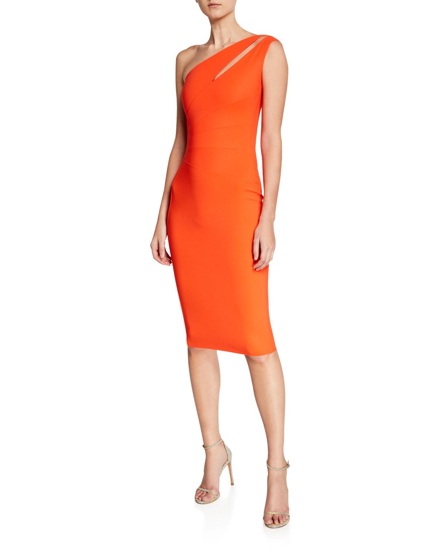 c7f6aece Chiara Boni La Petite Robe Anisette One-Shoulder Body-Con Dress with Cutout
