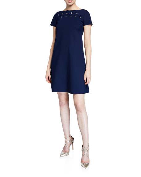 Chiara Boni La Petite Robe Rosario Cap-Sleeve Looped Grommet A-Line Dress