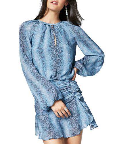 Jeannie Snake-Print Long-Sleeve Silk Dress
