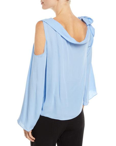 Ramy Brook Cassie Silk Tie-Neck Cold-Shoulder Top