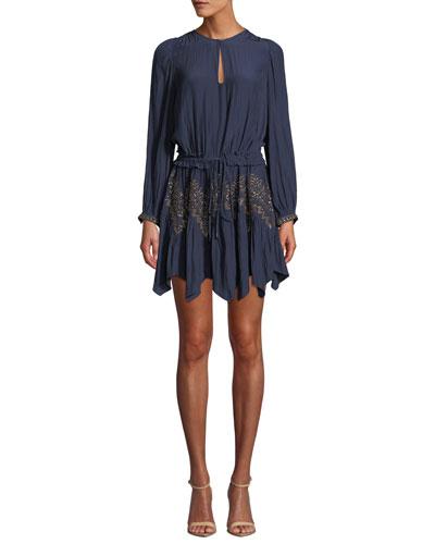 Hanna Embellished Long-Sleeve Handkerchief Dress