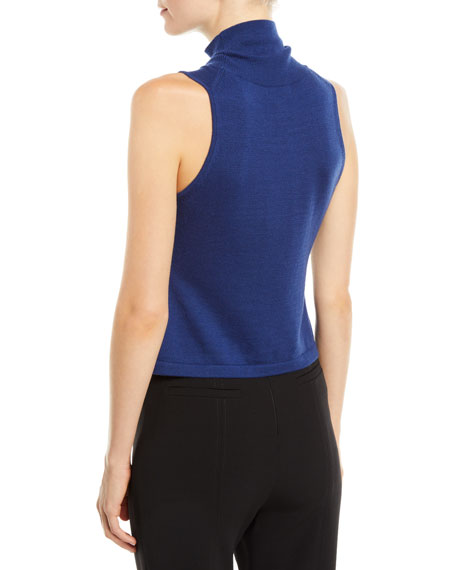 Ramy Brook Dakota Cropped Sleeveless Turtleneck Top