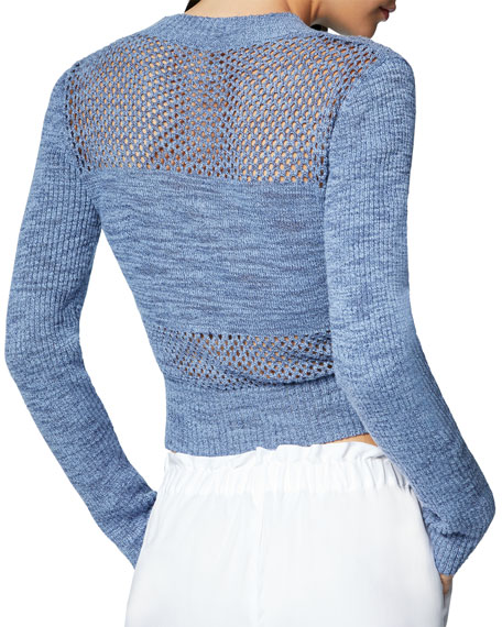 Ramy Brook Khloe Cropped Mesh Pullover Sweater