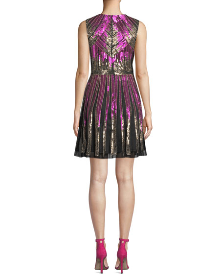 Image 2 of 3: Aidan Mattox Striped Beaded V-Neck Cocktail Dress