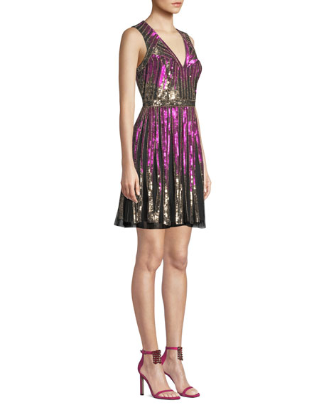 Image 3 of 3: Aidan Mattox Striped Beaded V-Neck Cocktail Dress