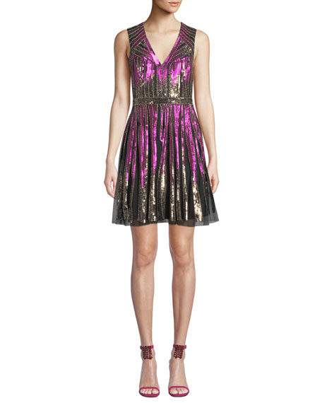 Image 1 of 3: Aidan Mattox Striped Beaded V-Neck Cocktail Dress