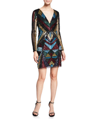 f41be215c29 Aidan by Aidan Mattox V-Neck Long-Sleeve Geometric-Beaded Cocktail Dress