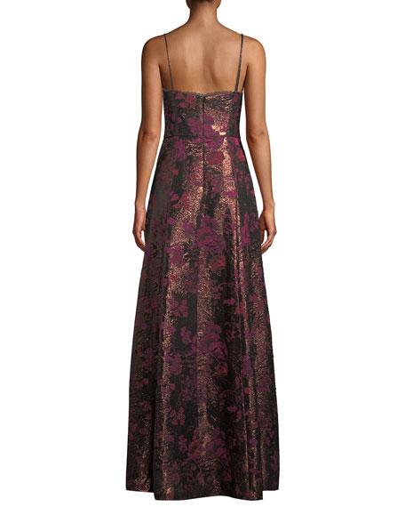 Aidan by Aidan Mattox Metallic Jacquard Sweetheart Gown