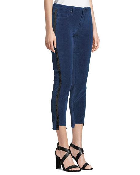 PARKER SMITH Twisted Tuxedo Velvet Step-Hem Jeans With Side Stripes in Indigo Velvet