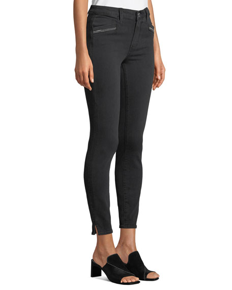 PAIGE Roxxi High-Rise Ankle Skinny Jeans with Zipper Trim