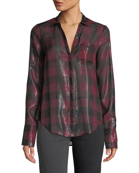PAIGE Bevyn Metallic Plaid Button-Front Shirt