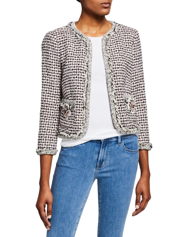 33a3267e8cf1 Rebecca Taylor Houndstooth Tweed 3/4-Sleeve Jacket | Neiman Marcus