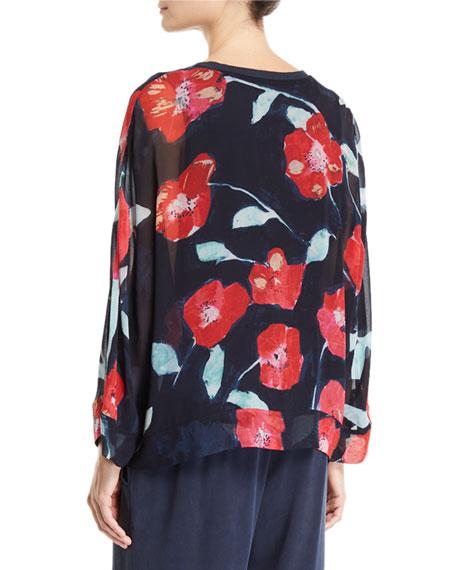 Go Silk Long-Sleeve V-Neck Floral-Print Kimono Blouse