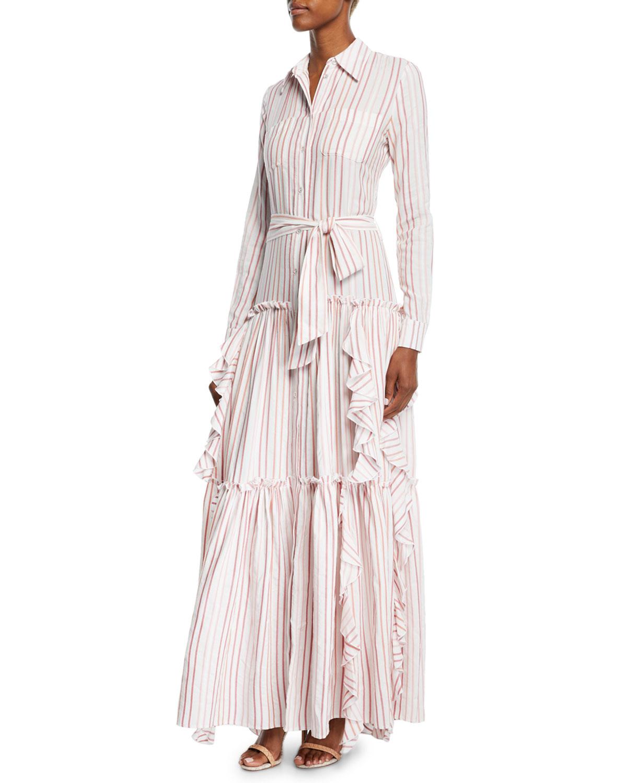 f0842763e81039 Alexis Pavilla Striped Tiered Ruffle Button-Front Maxi Dress ...