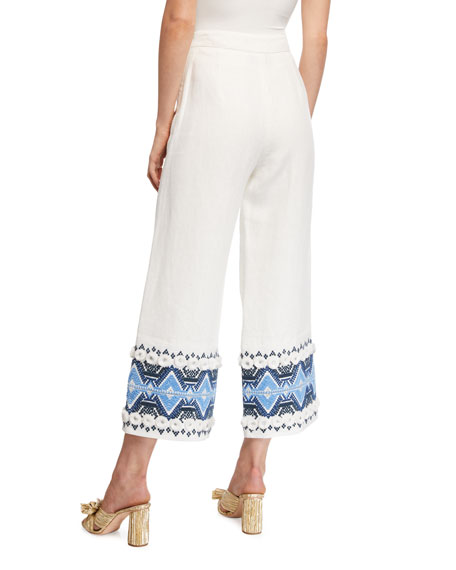 Alexis Lowri High-Rise Embroidered Wide-Leg Pants