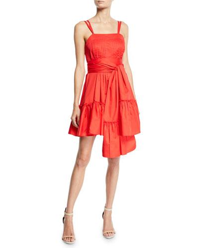 Oska Tiered Flounce Dress with Sash